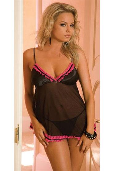 Hustler комплект, черно-розовый, Бэби долл с рюшами и стринги - Размер Универсальный (XS-L)