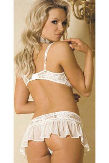 Hustler комплект, белый Оригинальный, из лифа и юбочки