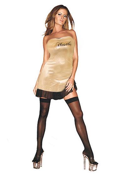 Hustler платье, золотое, С надписью Hustler на груди - Размер S-M