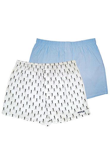 Hustler шорты, бело-голубые, Две пары: однотонные и с принтом - Размер M