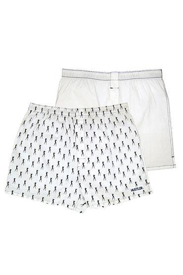 Hustler шорты, белые, Две пары: однотонные и с принтом - Размер M