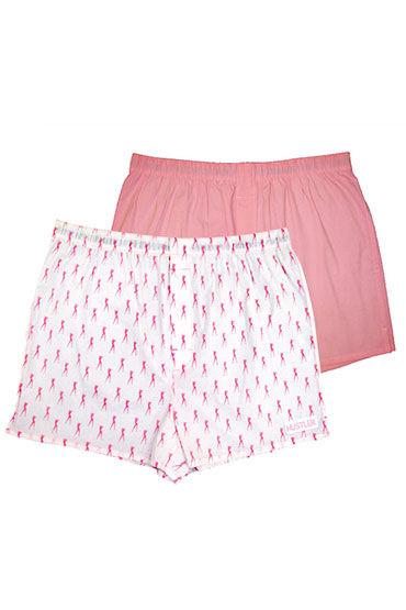 Hustler шорты, розово-белые, Две пары: однотонные и с принтом - Размер S