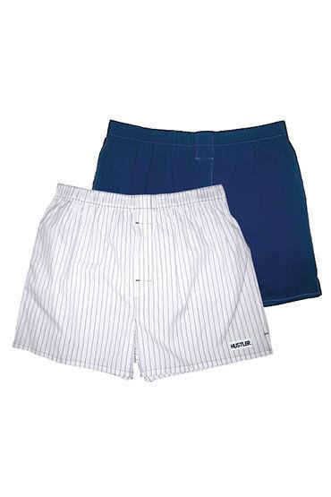 Hustler шорты, бело-синие, Две пары: однотонные и в полоску - Размер S