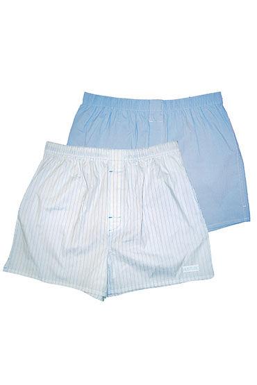 Hustler шорты, бело-голубые, Две пары: однотонные и в полоску - Размер XL