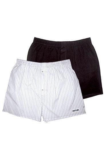 Hustler шорты, черно-белые, Две пары: однотонные и в полоску - Размер XL