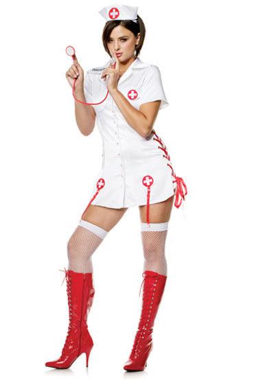 Seven til Midnight Медсестра Никки Платье со шнуровкой, чепчик и стетоскоп