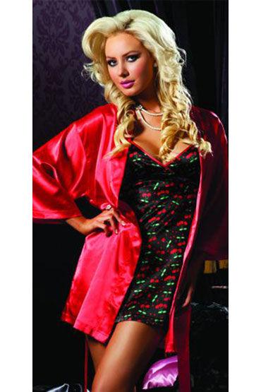 Seven til Midnight комплект Красный халатик и сорочка с вишенками