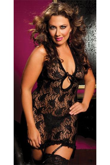 Seven til Midnight комплект, черный, Платье с глубоким декольте и стринги - Размер Универсальный плюс (XL-XXXL) от condom-shop.ru