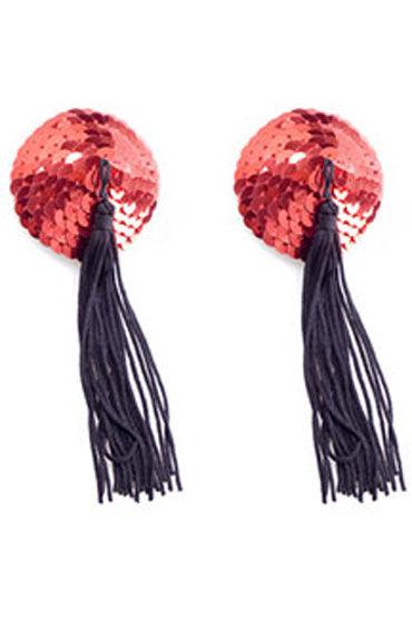 Electric Lingerie пэстисы, красно-черные Круглой формы, с кисточками