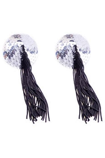 Electric Lingerie пэстисы, серебристо-черные Круглой формы, с кисточками