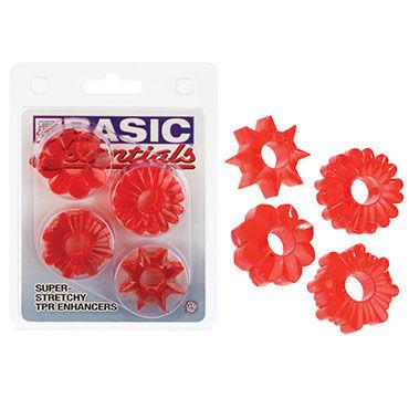 California Exotic Basic Essentials, красный, Комплект из четырех колец