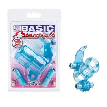 California Exotic Basic Essentials Double Trouble, Насадка на пенис с двумя вибро-пульками