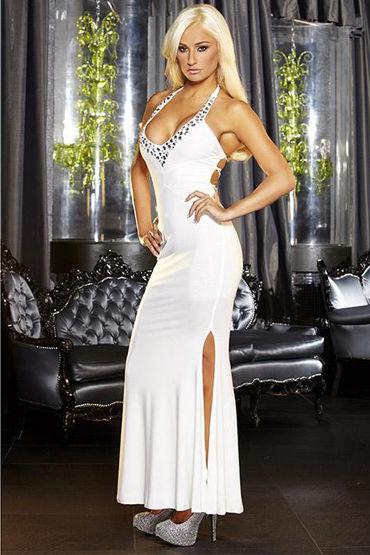 Hustler платье, белое, С разрезом и глубоким декольте - Размер S-M