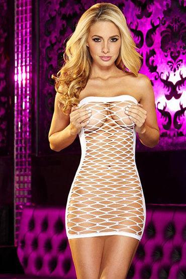 Hustler платье-сетка, белое, Без бретелек - Размер Универсальный (XS-L)