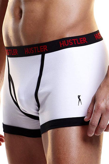 Hustler боксеры, белые, С черной окантовкой - Размер L