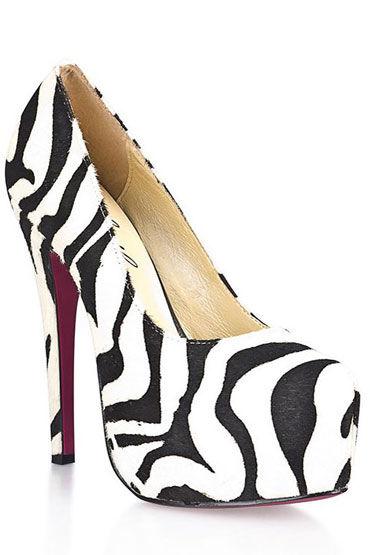 Hustler Black&White Туфли на высокой шпильке, Из искусственной шерсти зебры - Размер 40