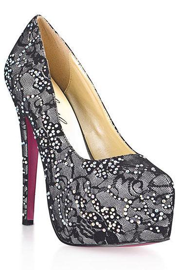 Hustler Dark Silver Гипюровые туфли на высокой шпильке, Декорированы сверкающими кристаллами - Размер 40