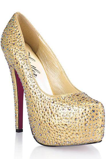 Hustler Golden Diamond Туфли на высокой шпильке, Декорированы серебряными кристаллами - Размер 40