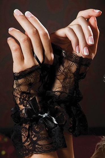 Seven til Midnight перчатки, черные, С атласными бантиками - Размер Универсальный (XS-L)