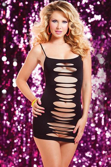 Seven til Midnight платье, черное, С горизонтальными вырезами - Размер Универсальный (XS-L)
