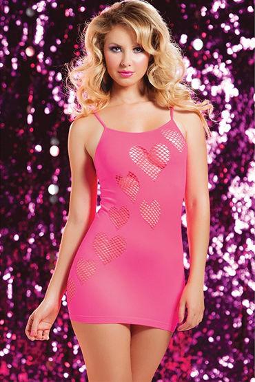 Seven til Midnight платье, розовое, С сердечками в сеточку - Размер Универсальный (XS-L)