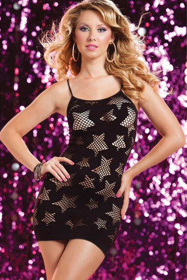 Seven til Midnight платье, черное, С ажурными звездами - Размер Универсальный (XS-L)
