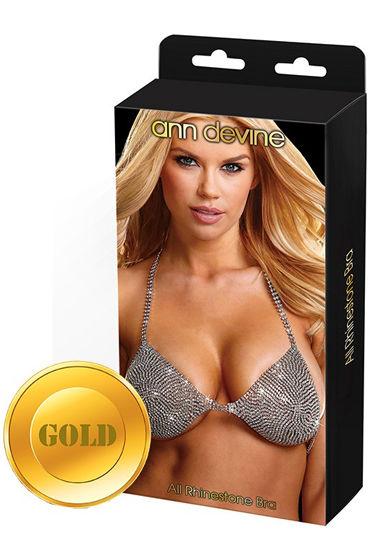 Ann Devine All Phinestone Bra, золотой, Бюстгальтер из сверкающих страз - Размер Универсальный (XS-L)