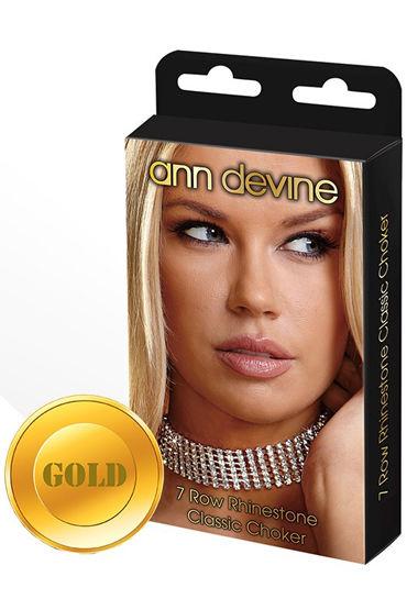 Ann Devine Rhinestone Classic Choker, золотой, Широкий ошейник из кристаллов