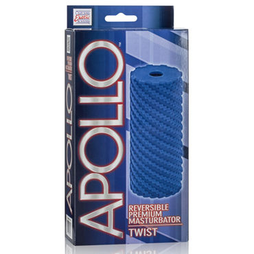 California Exotic Apollo Reversible Premium Masturbator Twist, синий Двусторонний мастурбатор
