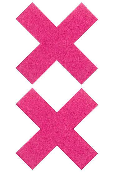 Shots Toys Nipple Sticker Cross, розовые Пэстисы Х-образной формы