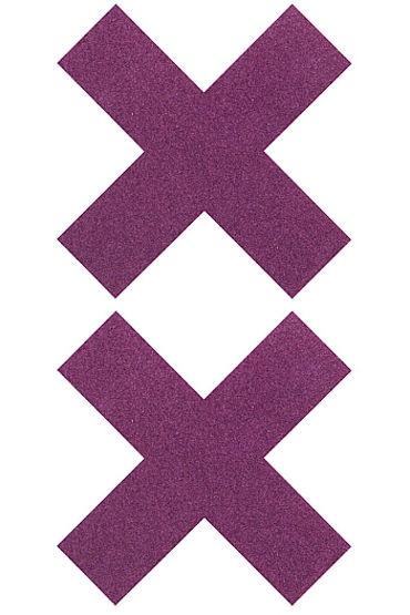 Shots Toys Nipple Sticker Cross, фиолетовые, Пэстисы Х-образной формы от condom-shop.ru