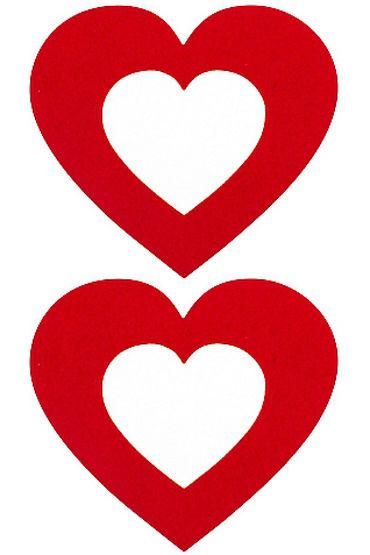 Shots Toys Nipple Sticker Open Hearts, красные Пэстисы в форме сердечек, с отверстиями для сосков