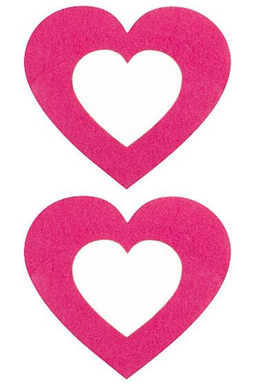 Shots Toys Nipple Sticker Open Hearts, розовые, Пэстисы в форме сердечек, с отверстиями для сосков от condom-shop.ru
