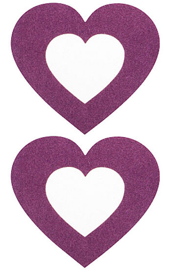 Shots Toys Nipple Sticker Open Hearts, фиолетовые Пэстисы в форме сердечек, с отверстиями для сосков