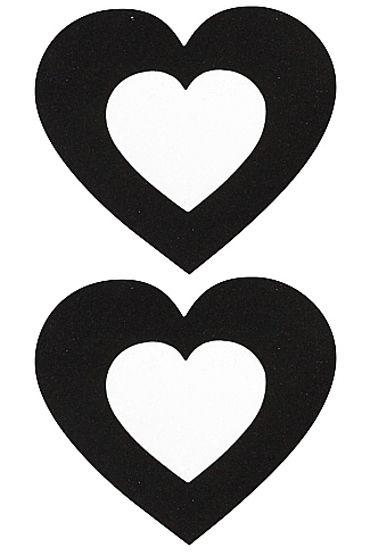 Shots Toys Nipple Sticker Open Hearts, черные Пэстисы в форме сердечек, с отверстиями для сосков
