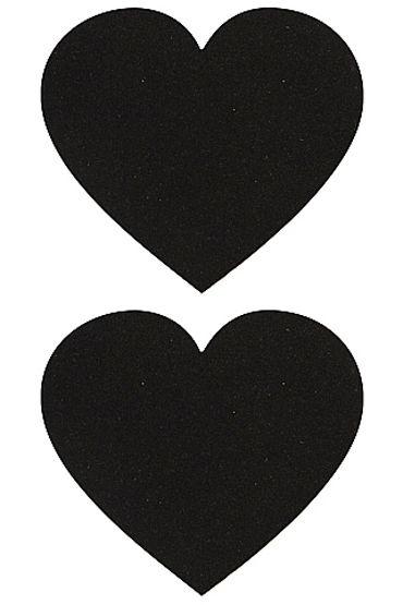 Shots Toys Nipple Sticker Hearts, черные, Пэстисы в форме сердечек от condom-shop.ru