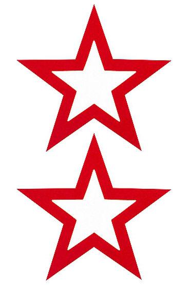 Shots Toys Nipple Sticker Open Stars, красные Пэстисы в форме звездочек, с отверстиями для сосков