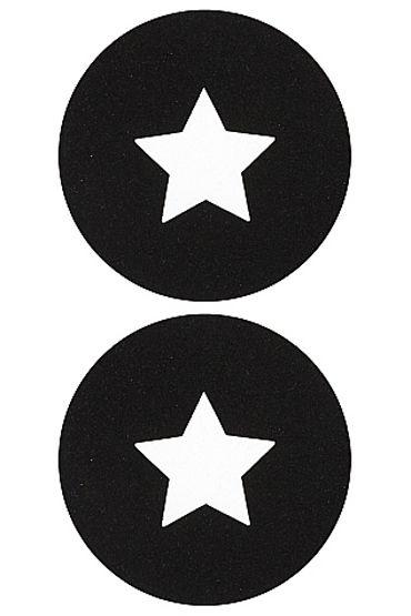 Shots Toys Nipple Sticker Round Open Stars, черные Пэстисы в форме кругов, с отверстиями в форме звездочек