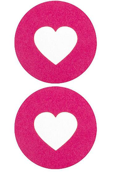 Shots Toys Nipple Sticker Round Open Hearts, розовые Пэстисы в форме кругов, с отверстиями в форме сердечек