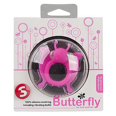Shots Toys Butterfly, розовое Эрекционное виброкольцо в виде бабочки