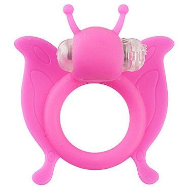 Shots Toys Butterfly, розовое, Эрекционное виброкольцо в виде бабочки