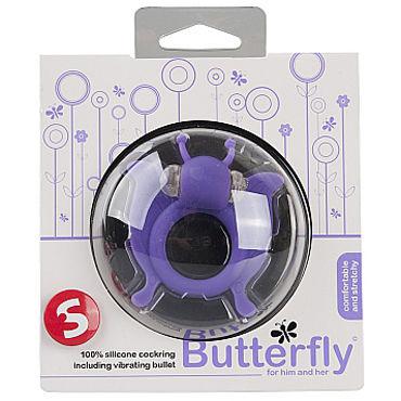 Shots Toys Butterfly, фиолетовое Эрекционное виброкольцо в виде бабочки