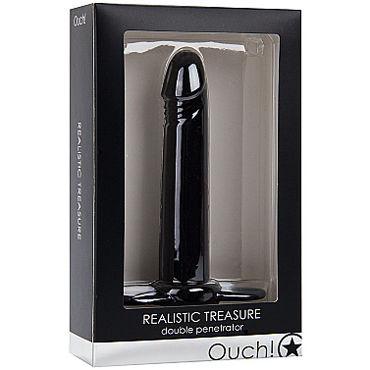Shots Toys Realistic Treasure, черная Насадка на пенис для двойного проникновения
