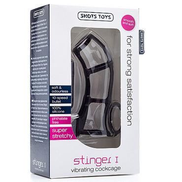 Shots Toys Stinger I, черная Насадка на пенис с петлей для мошонки