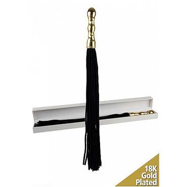 Shots Toys Luxury Whip, черная Многохвостая плеть, с золотой рукояткой