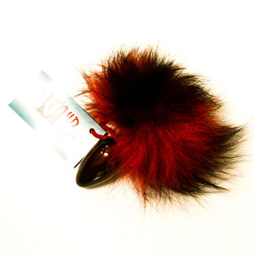 Wild Lust Анальная пробка 4см, красно-черный, С заячьим хвостом