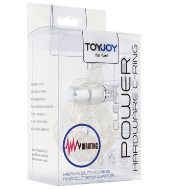 Toy Joy Power Hardware C-ring, прозрачное Рельефное виброкольцо на пенис