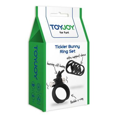 Toy Joy Tickler Bunny Ring Set, черный Набор из насадки и виброкольца на пенис