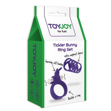 Toy Joy Tickler Bunny Ring Set, фиолетовый Набор из насадки и виброкольца на пенис