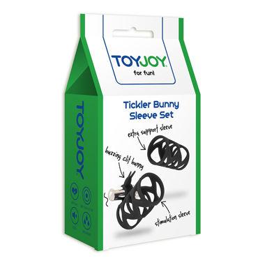 Toy Joy Tickler Bunny Sleeve Set, черный Набор из двух насадок на пенис